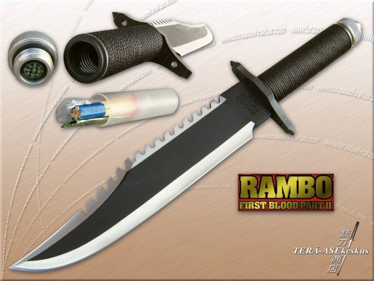 A Rambo knife with waterproof matches and a compass in the handle
