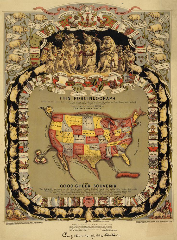 justu2013maps u201c 1875 u201cPorcineographu201d A map of