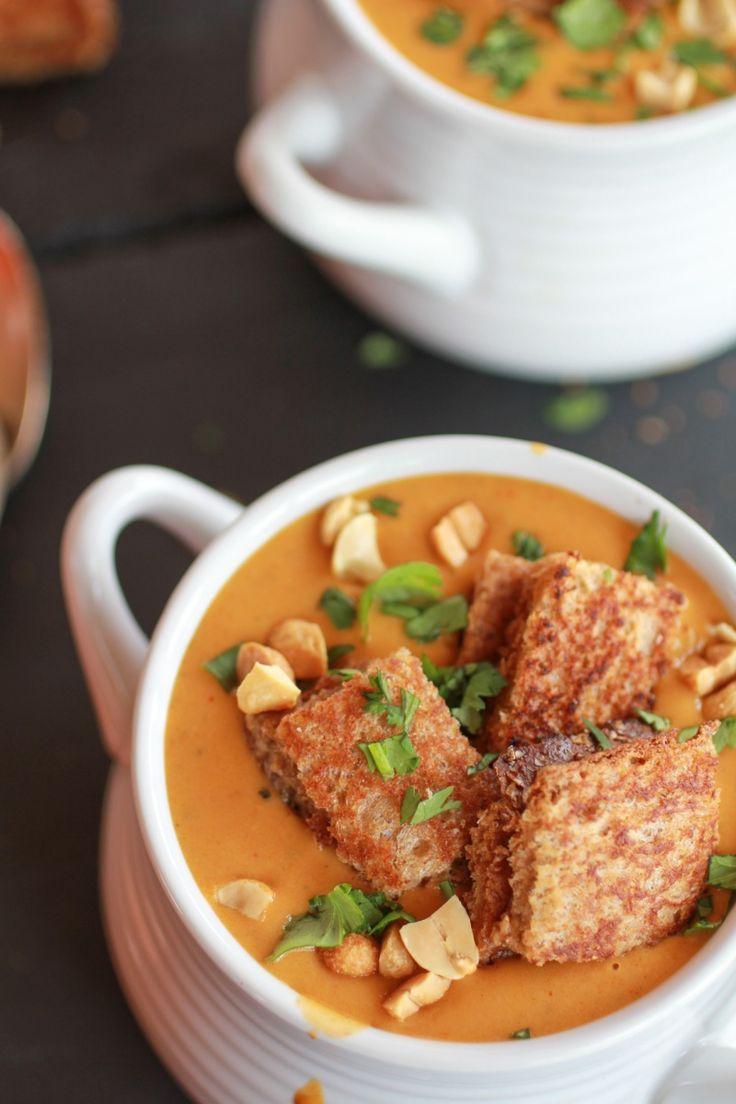 Sweet Potato Peanut Soup with Peanut Butter Croutons-5