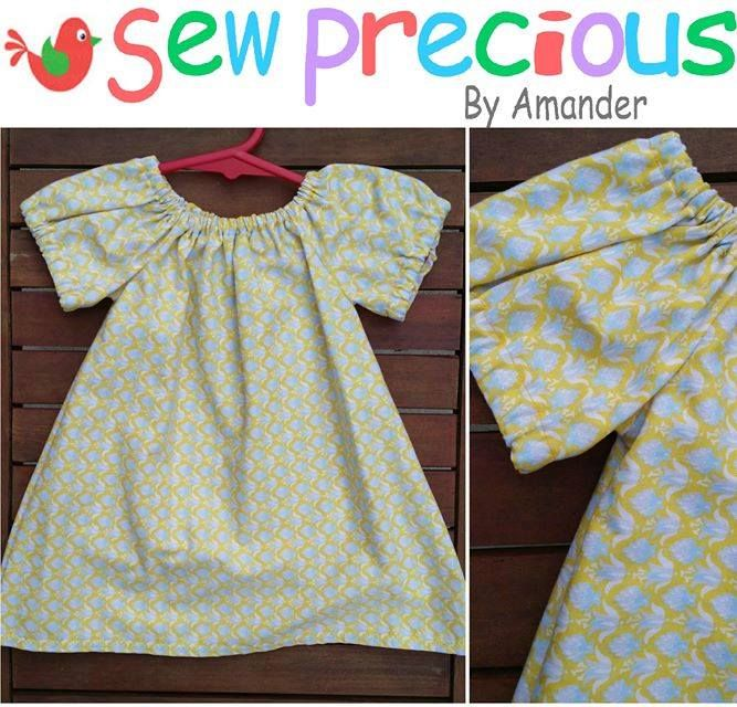 Handmade by Sew Precious By Amander Peasant Style Dress – Lemon & Pale Blue/Grey