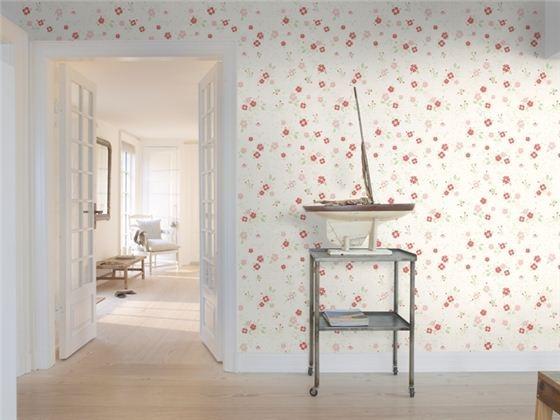 Rød blomsterdekor fra tapetkolleksjonen Nordic Home fra Flügger.