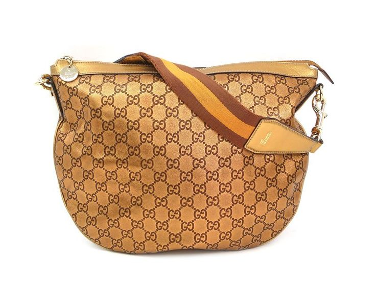#GUCCI Shoulder Bag Guccissima GG Leather/Webbing Gold 153032 (BF302246) #eLADY global accepts returns within 14 days, no matter what the reason! For more pre-owned luxury brand items, visit http://global.elady.com