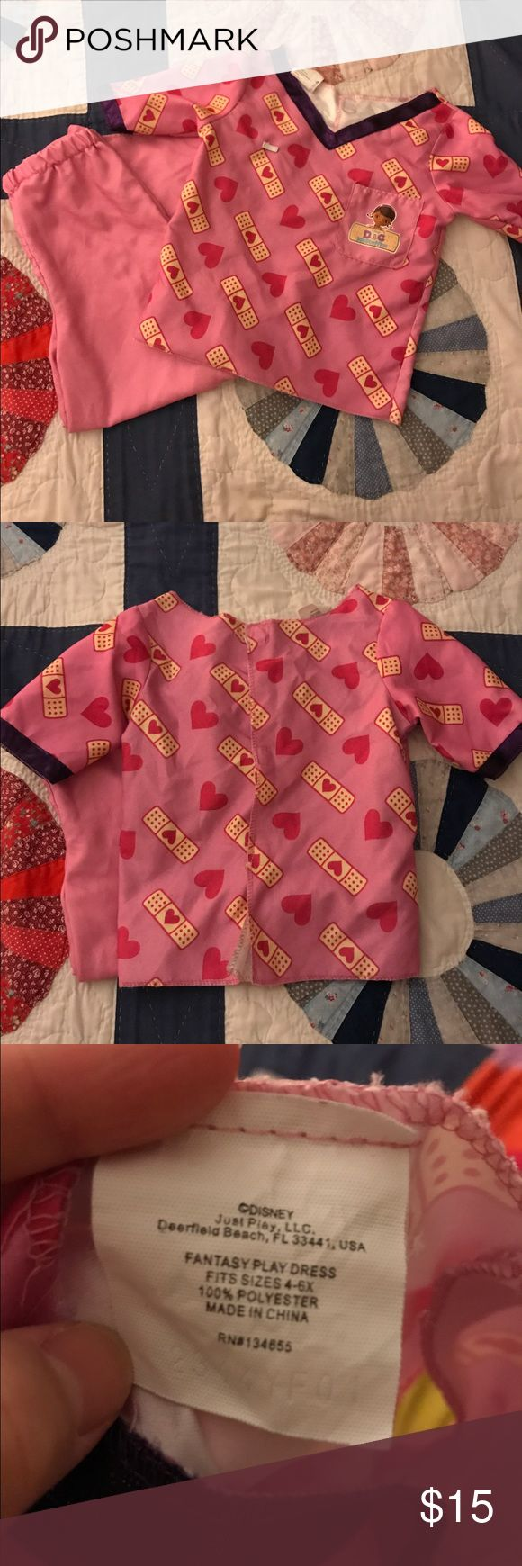 Disney Doc McStuffins Play Scrubs Disney Doc McStuffins Play Scrubs. Size 4-6X Little Girls. In good condition. A small part of the fabric is loose from the elastic waistband but could be easily fixed. Disney Costumes Halloween