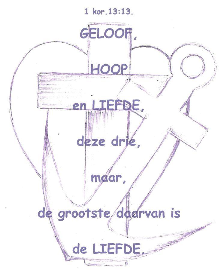 Geloof, hoop en liefde; deze schets heeft iemand ooit ook in mijn poëziealbum getekend!
