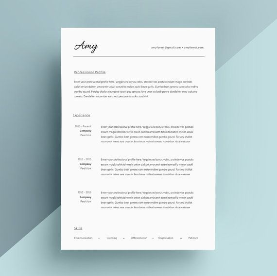 Simple Resume Template, Cover Letter, CV Template, Professional Resume,  Modern Resume, Clean Resume, Two Page Resume, Instant Download  Cover Page For Resume Template