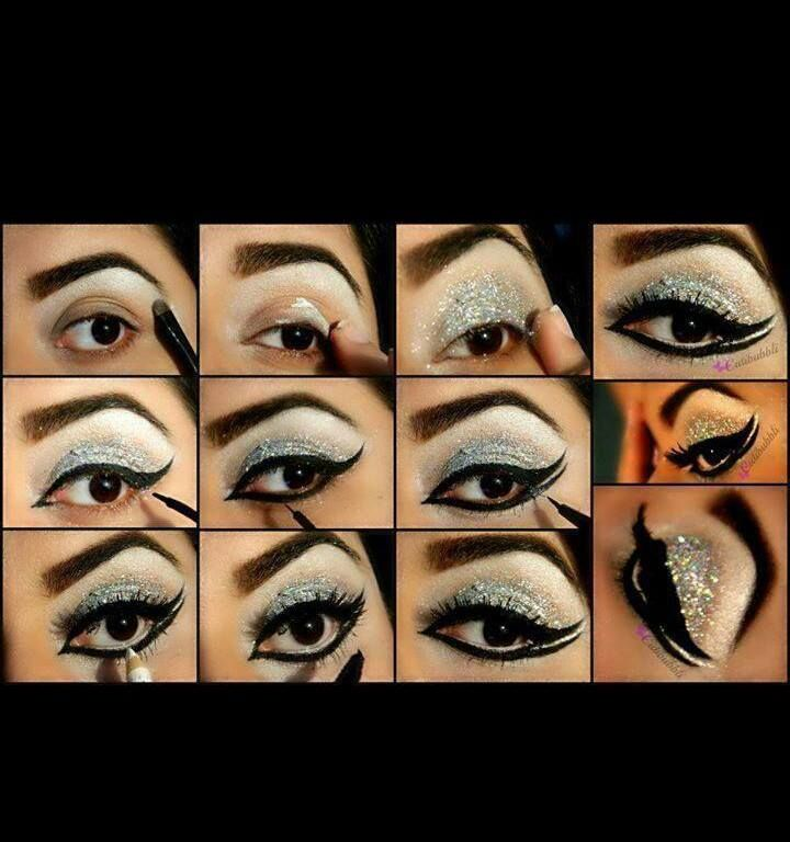 glitter silver eye makeup
