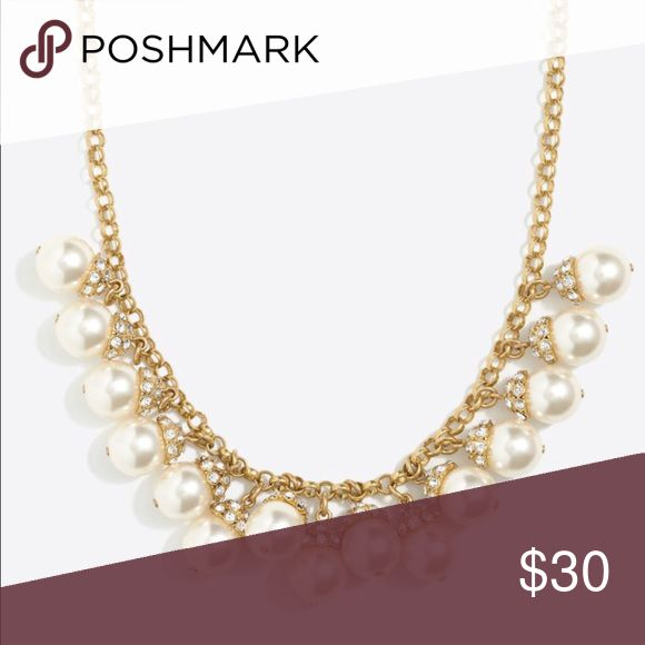 """J crew pearl accent necklace J crew New with tags  Zinc, glass stone, acrylic pearl, steel. Light gold ox plating. 18"""" with a 3"""" extender chain for adjustable length. J. Crew Jewelry Necklaces"""
