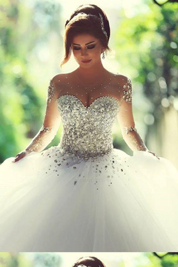 Cheap Dazzling Long Sleeves Wedding Dress, Ball Gown Wedding Dress