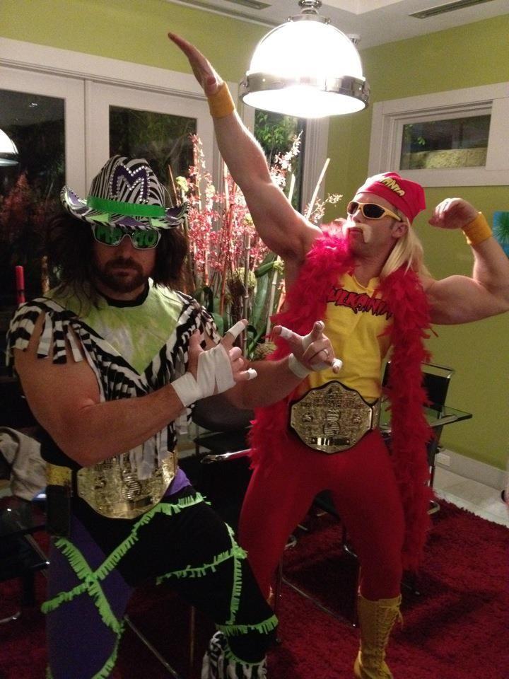 Husband and I dressed up as Macho Man and Hulk Hogan for Halloween