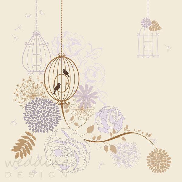 Romantic invitation card with birds - Romantikus esküvői meghívó madarakkal