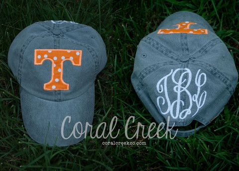 Charcoal Gray Appliqued Power T Tennessee Vols Monogrammed Hat