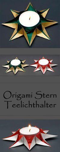 Origami Sterne Teelichthalter falten zu Weihnachte…