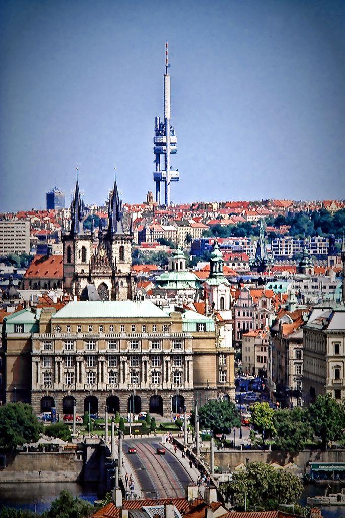 Prague wif de Žižkov television tower in Mala Strana_ Czechia