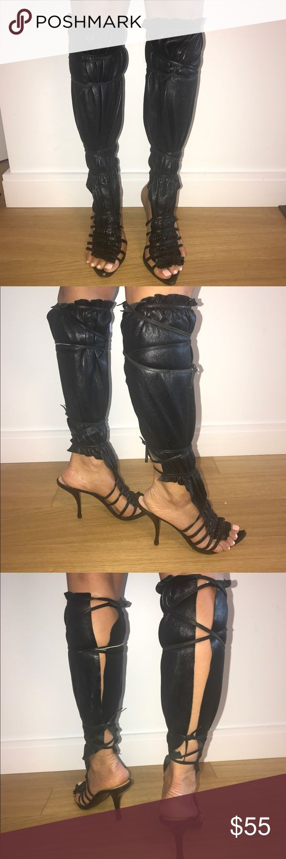 Summer leather knee high boots Gorgeous 100% leather summer boots. Super sexy and very comfortable. Some signs of wear include scratches on the heels- can be easily covered, scratches on the front. The brand name wears off, see the last photo. But still have tons of life and super hot 🔥 Les Tropeziennes Shoes