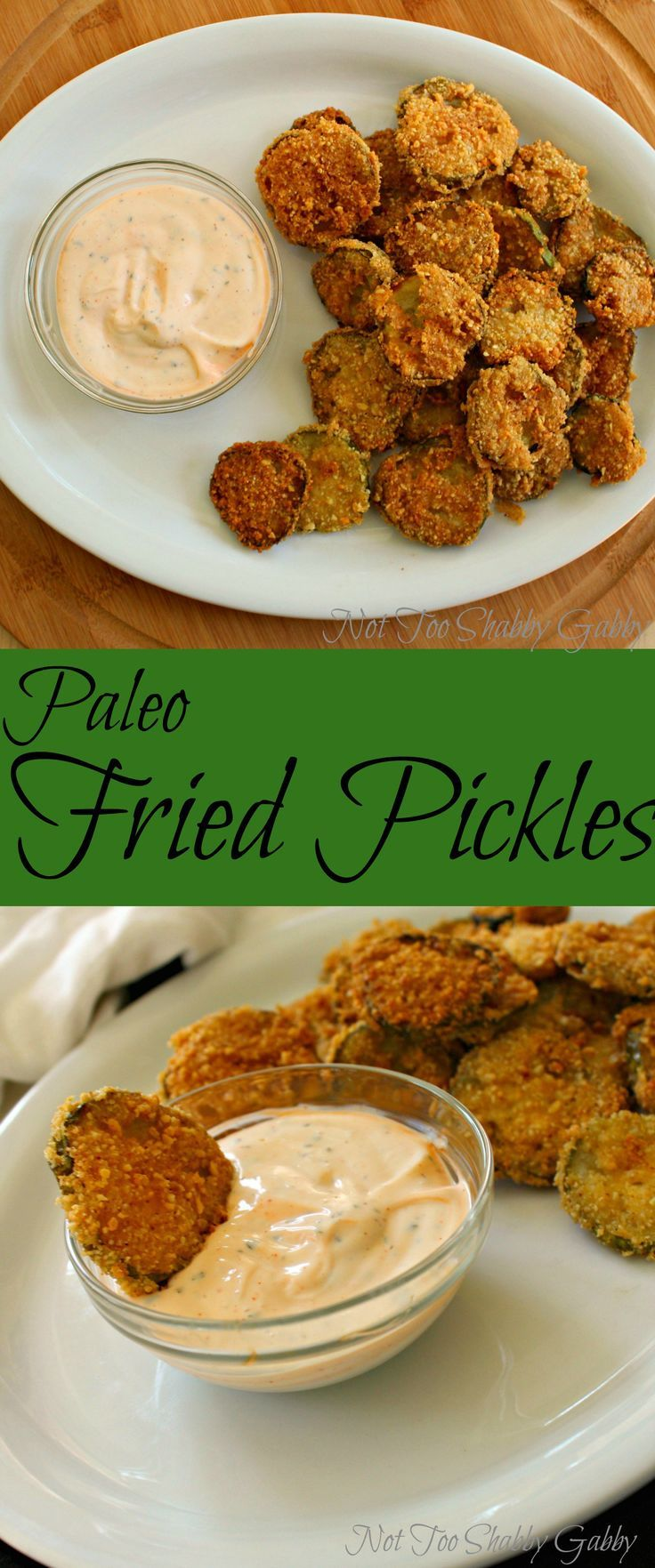 Paleo Fried Pickles the perfect snack to chow down on anytime of the day. So easy to make, super yummy and healthier than many other snacks! |paleo fried pickles| |fried pickles| |paleo| |paleo recipe| |gluten free| |gluten free recipe| |gluten free fried pickles|