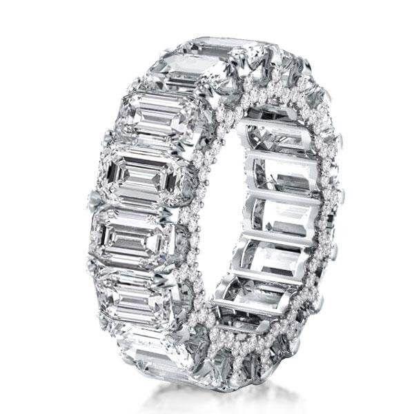 Diamond Wedding Bands Italo Eternity Double Prong Emerald Created White Sapphire Wedding White Sapphire Wedding Band Sapphire Wedding Band Emerald Wedding Band