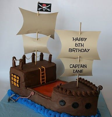 Pirate Ship Cake... A coworker asked me to make one of these for her son's party tomorrow! Here goes nothing!!