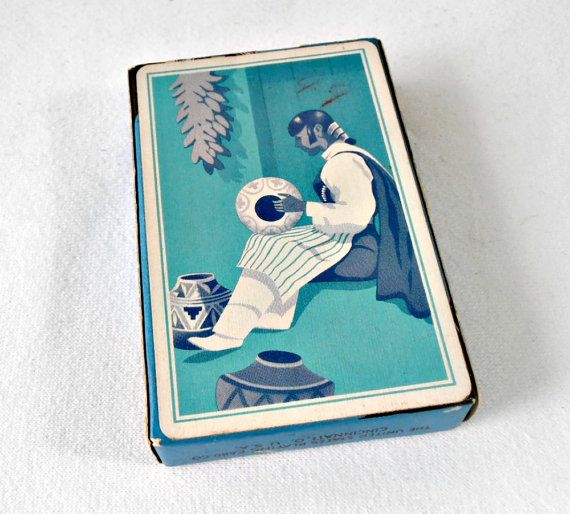Mid Century Avon Playing Cards, Sealed Box Card Deck, Blue Tone Southwestern Native American Motif, Collectible Deck of Cards, Made in USA
