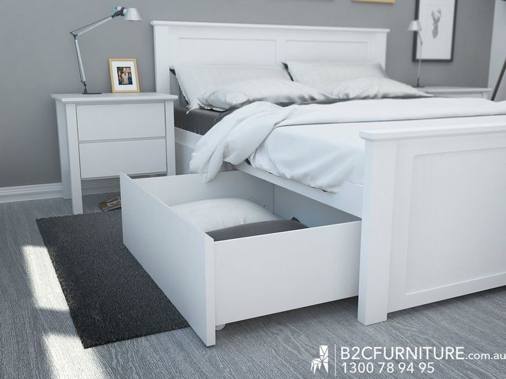 White Queen BED Frame With Under BED Storage Drawers Hardwood Natural Brown | eBay