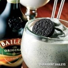 BEST DRINK EVER! Had in london at tgi fridays! Cant taste the alcohol! Barnamint Baileys recipe Ingredients 1	oz Baileys Irish Cream 	oz Green Creme de Menthe 1	oz milk 2	scoops vanilla ice cream 	scoop crushed ice Directions Combine in blender, blend until smooth. Serve in a tall glass with an oreo cookie garnish.