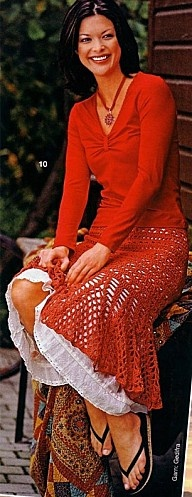 Red Midlength Skirt free crochet graph pattern