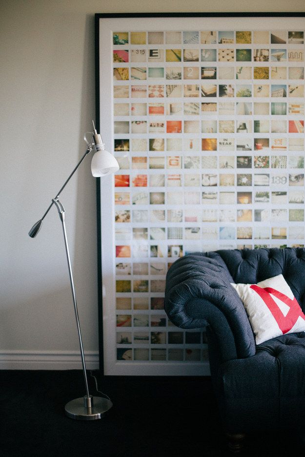 Glue your favorites in a grid inside a hugely oversized frame. | 19 Gorgeous Ways To Display Your Favorite Travel Photos