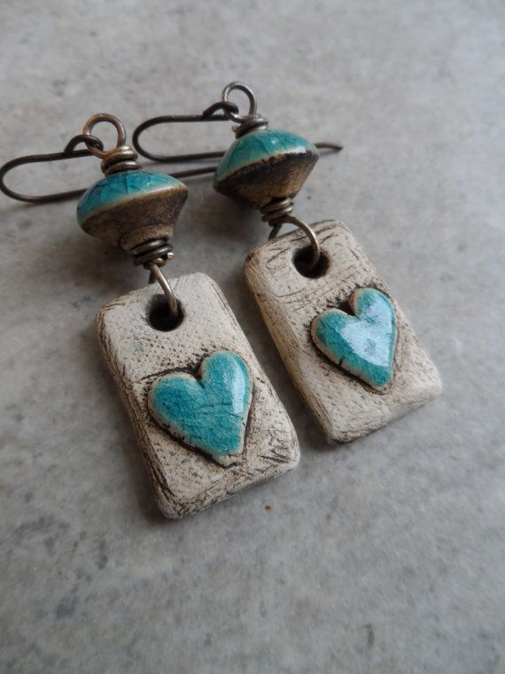 Rustic Love ... Natural Ceramic and Brass by juliethelen on Etsy