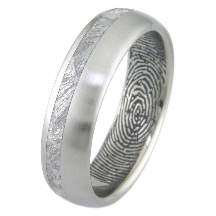 Men's Titanium Meteorite Ring with Personalized Inner Fingerprint