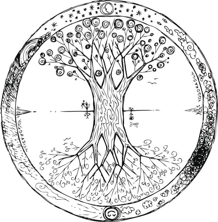 interessante Idee für Mandala mit Baum am Tag und über die Nacht