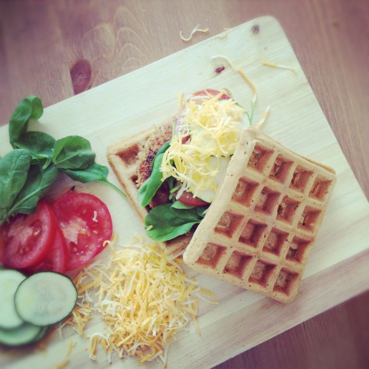 TODAY'SBREAKFAST IDEA: Waffle burger.  It's yummy, easy to make and… well, just fun to have on a plate.  Oh, and you can adapt it to your own preferences. You can make it…  vegetarian, by adding arugula, salads, blue cheese and nuts  vegan, by just adding the greens, with lentils, tofu and soy  Italian, by adding prosciutto, parmesan and dried cherry tomatoes  Have fun!