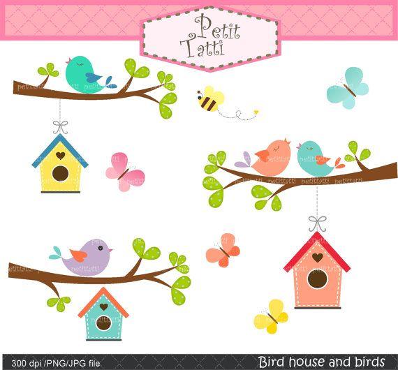 birds clip artbutterfly clip artbird house clip by petittatti, $4.80