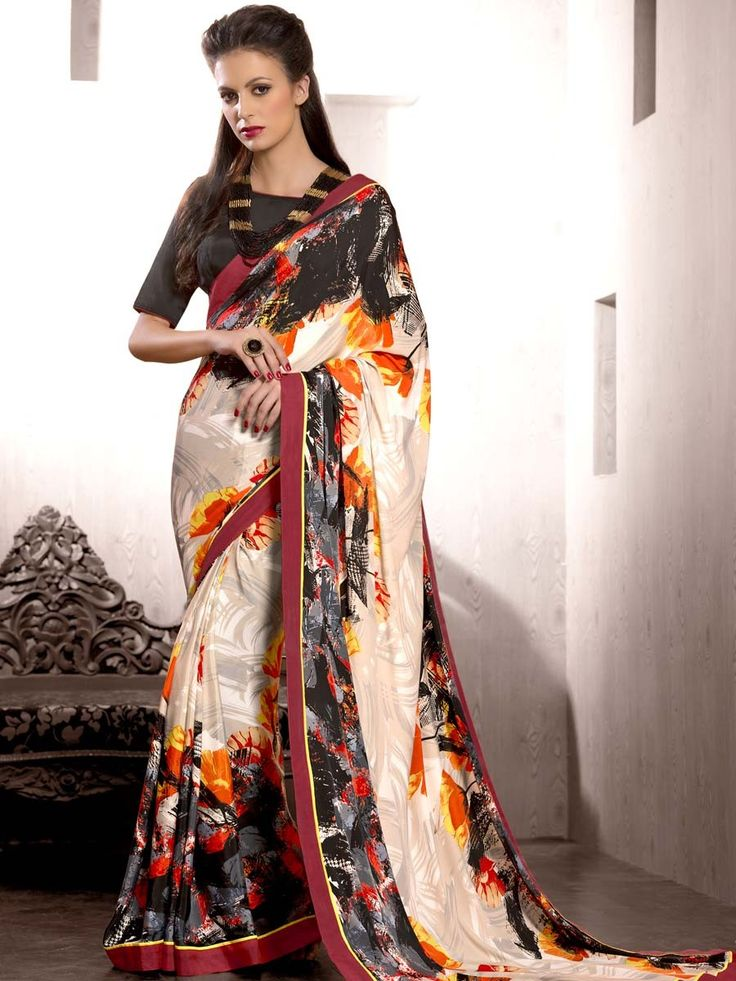 Pleasing beige color #Satin #Saree with abstract, floral print and fancy patch border is looking awesome.  Item Code; SDHI1859 http://www.bharatplaza.com/new-arrivals/sarees.html