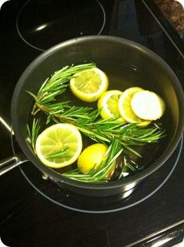 Aromaterapia ... agregue 1 limón en rodajas, ramitas de romero y 2 cucharaditas de vainilla en una olla con agua. Cocine a fuego lento... Huele tan Bien!