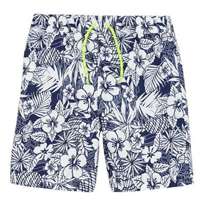 bluezoo Boys' blue hibiscus print swim shorts   Debenhams