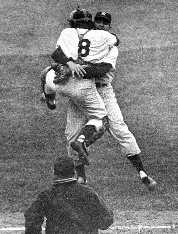 Don Larsen and Yogi Berra World Series Game 5, Oct. 8, 1956 New York Yankees pitcher Don Larsen hugs catcher Yogi Berra (8) after pitching the only perfect game in World Series history, at Yankee Stadium. The Yankees would win the Series in seven games.