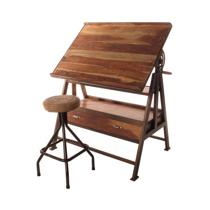 Iron & Wood Drafting Table | dotandbo.com