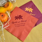 The bold double leaf design personalized cocktail napkins are perfect for your fall wedding or event. The striking bold double leaf design can symbolize the marrying couple poetically or accent a fall welcome message for your party.