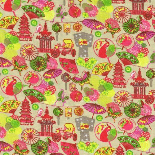 "Rickshaws fabric 'Fan' collection (Pink) - mini design - French Fabric Cotton 140CM / 55"" Wide - Per Half Metre Textiles français http://www.amazon.co.uk/dp/B00JIU0R06/ref=cm_sw_r_pi_dp_PwD4wb1ZT4N24"
