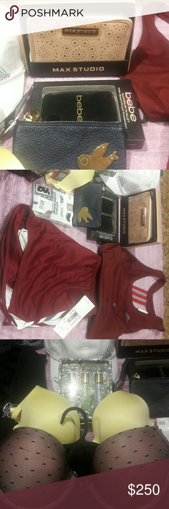 MIX STUFF OF BRAND NAMES MIx OFF LOTS STUFF  ADIDAS W UTILITY RUN SHORT GEAR AND DERBY TANK . PLUS XS / SCLIMACOOL UNDERWEAR. ADIDAS WHITE SQUAD RELAX CAP. TORY BURCH PERFUME BEBE ALUMINUM WALLET WITH SCAN PROOF PROTECTION WITH 7 SECURE FIT POCKETS MAX STUDIO WALLET VOGO SPORT/ YOGA LEGGINGS WITH CRISSCROSS HOLE ON THE SIDE -S VINCE CAMUTO no shoe BIKINI 3 pack VINCE CAMUTO 34C  PUSH UP BRA SUNNIE AERIE 32 D BRA TORY BURCH, ADIDAS, BEBE, SALVATORE FERRAGAMO, Accessories