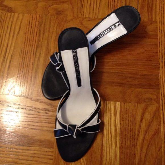 """Navy Heels Navy heel with white trim. 2 3/4"""" heel. Leather upper. Nine West Shoes Heels"""