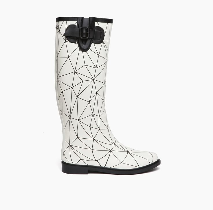 AW15 | United Nude Rain Boot Black Lines On Snow White