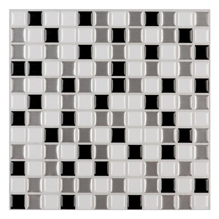 "Ecoart Peel and Stick Self-Adhesive Wall Tile for Kitchen / Bathroom Backsplash, Mosaic Design, Black Silver White, 10"" X 10"" (Pack of 6)"