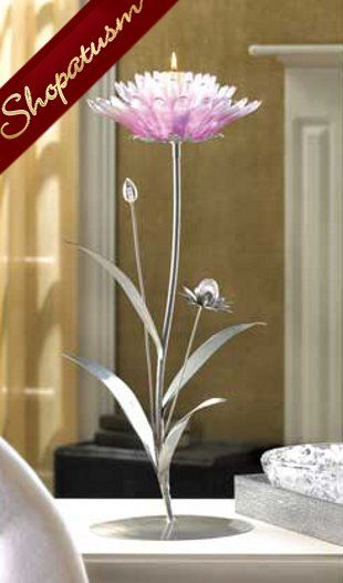 Dramatic Pink Lotus Floral Silver Candle Holder Centerpiece