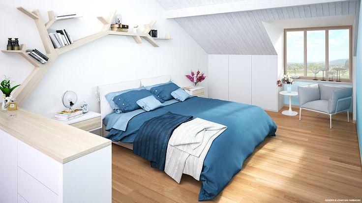 Ristrutturazione di un vecchio mulino a Jussy - camera da letto matrimoniale: Camera da letto in stile in stile Scandinavo di Jonathan Sabbadini