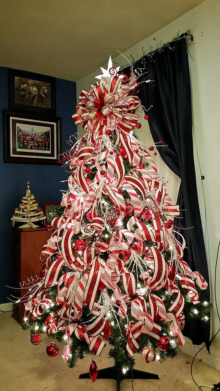 Cristhmas Tree Decorations Ideas Crazy Candy Cane Ribbons