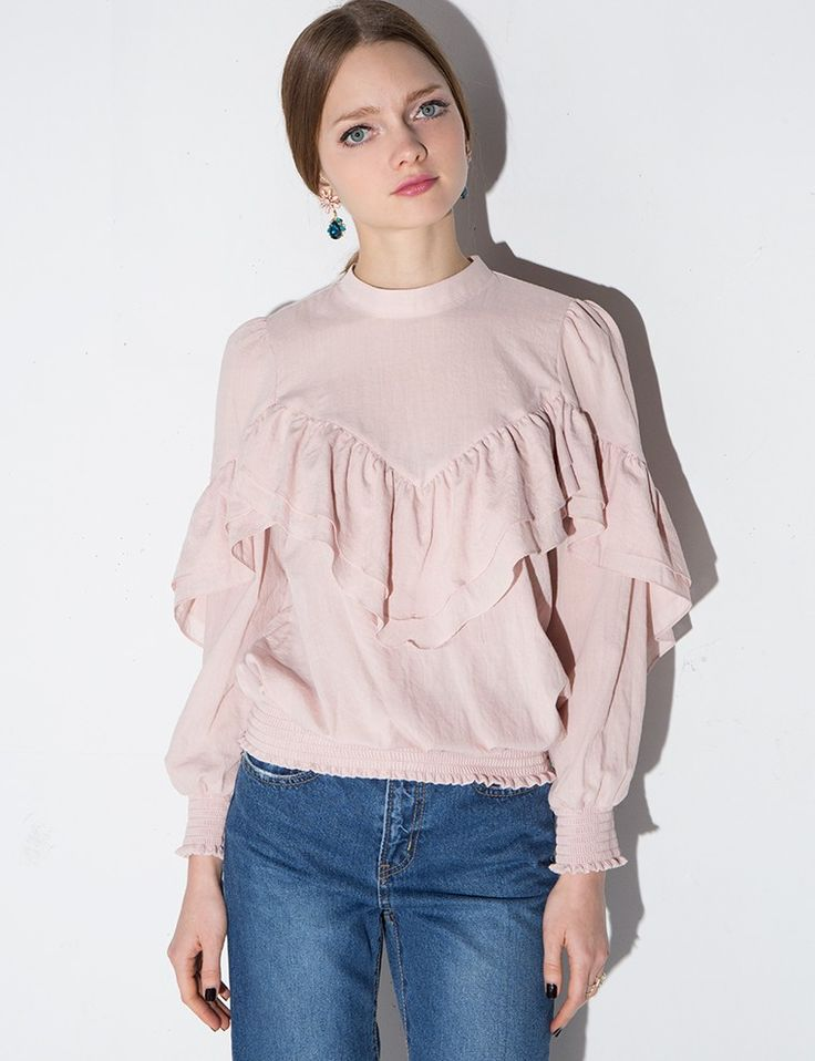 ruffle sleeve blouse #fashion #pixiemarket