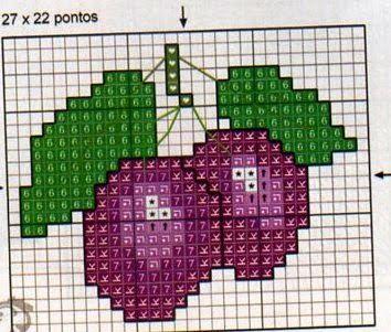 **Blog Amor Perfeito** Gráficos de ponto cruz: Frutas, Verduras e legumes