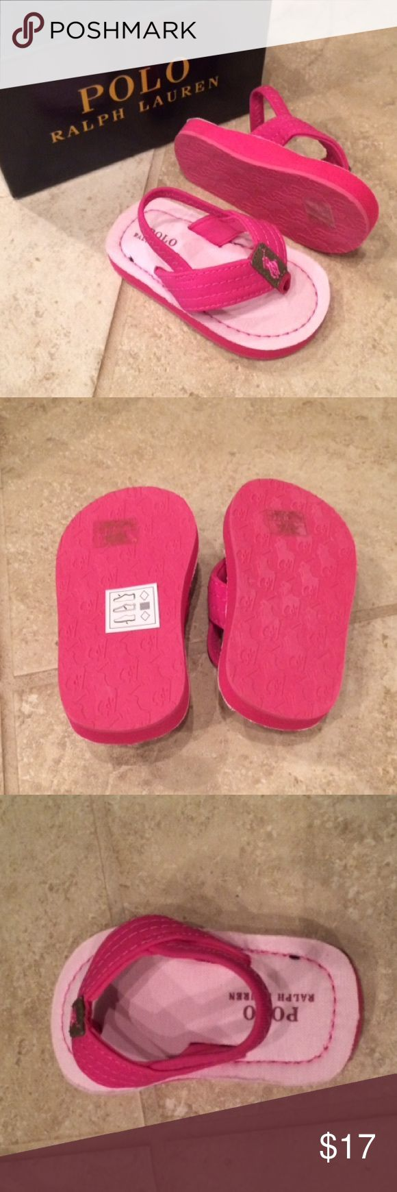 Polo Ralph Lauren Theo Sandals Polo Ralph Lauren girls Theo sandals in pink. Dense foam synthetic upper with darker pink stitching. Slip on design with blackstrap. Thong style construction with elastic slingback. Treaded rubber outsole. Polo by Ralph Lauren Shoes Sandals & Flip Flops