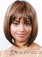 Wigs For Sale Short Straight Blonde Full Bang African American Wigs for Women 12 Inch