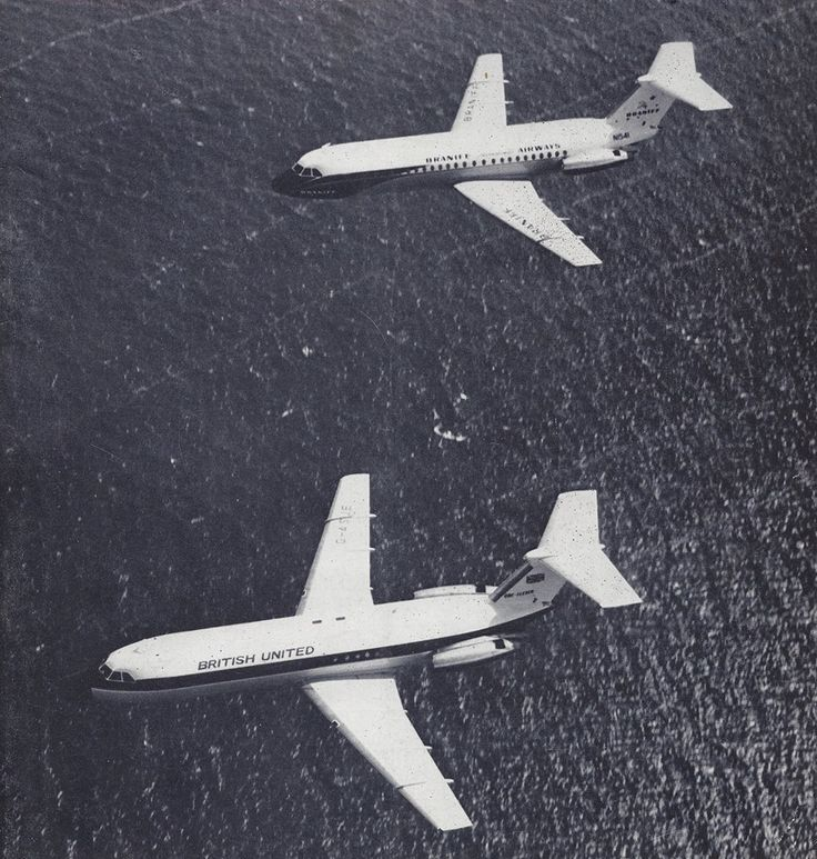 Braniff International BAC 111-203AE One-Eleven N1541 and British United Airways BAC 111-201AC One-Eleven G-ASJE on a display flight over the English Channel, circa 1964. BUA was launch customer of the type, known as a reliable workhorse on high cycle, short haul networks on both sides of the Atlantic. G-ASJE and N1541 both served as demonstration aircraft for BAC between May 1964 and February 1965 before N1541 finally made it to Texas that August. (Photo: BAC/Braniff/BFC Collection)